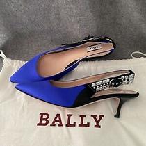 Sale New 635 Bally Alice Women's Royal Blue Satin Crystal Slingback Pumps 37 Photo