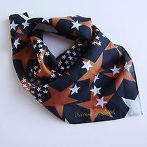 Sale New Vivienne Westwood Star Cotton/ Silk Scarf- Black White Brown-17in Sq Photo