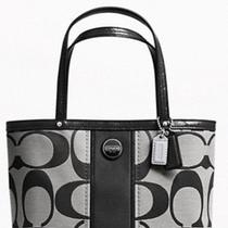 Sale Nwt Coach Signature Stripe Sm Top Handle Tote Bag Purse Black White 48798 Photo