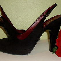 Sale Prada Black Suede Leather Slingback Pump Platform Shoe 39/9 Photo