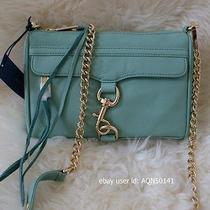 Sale Rebecca Minkoff Mini Mac m.a.c. Sea Glass Green Gold Crossbody Clutch Bag Photo