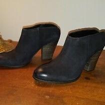 Sale Steve Madden Hilltop Black Leather Nubuck Slip on Boho Mule Bootie 6.5 New Photo