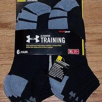 Sale Under Armour Resistor Mens Xl Socks Low Cut 6 Pair Size 9-12 Lo Black Photo