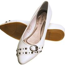 Salewhite 9women Mother Gift Spring Fashion Metal Studs Ballet Flats Shoescal Photo