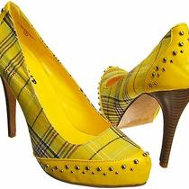 Saleyellow 8.5women Mother Fashion Metal Studs Plaids Hidden Platform Pumpdn4 Photo