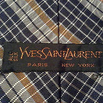 Sale  Yves Saint Laurent Paris New York  Silk Plaid  L 56.25 X W 4 Photo