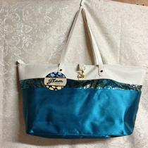 Sally Beauty Womens Aqua Sequin Shopping Tote Bag Purse Nwt Photo