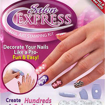 Salon Nail Art Express Decals Stamp Stamping Polish Diy Design Kit as Seen on Tv Photo