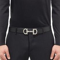 Salvatore Ferragamo Adjustable Belt in Calfskin With Double Gancio Buckle Black  Photo