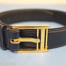 Salvatore Ferragamo Belt Navy Blue Italian Leather Gold Logo Buckle Sz. 32 Photo