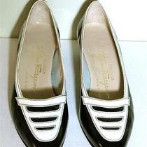 Salvatore Ferragamo Black and White Patent Op Art Shoes 8.5 A2 Photo