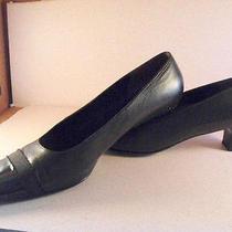 Salvatore Ferragamo Black Calfskin Pumps W/patent Toe & Grosgrain Ribbon 8.5b Photo