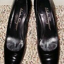 Salvatore Ferragamo Black Croc Print Pumps Kitten Heels Sz 8 Aaa Dr56072 Uec Photo