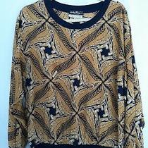 Salvatore Ferragamo Black Gold Silk Animal Cheetah Print  Longsleeve Top Size Xl Photo
