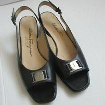 Salvatore Ferragamo Black Open Toe Slingback Heels Sandals 7.5 Aaa Photo