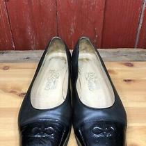 Salvatore Ferragamo Black Patent Cap Toe Logo Low Heel Pumps Womens Sz 7.5 B Photo