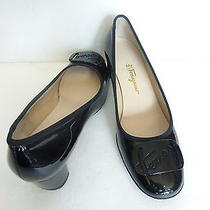 Salvatore Ferragamo Black Patent Leather Pump/lacquer Logo Detail Sz 9.5/39.5 Photo