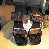 Salvatore Ferragamo Black Patent Wedge Heeled Sandals  W/stretch Ankle Bands 7.5 Photo