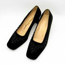 Salvatore Ferragamo Black Suede Brocade Fancy Dress Pumps Womens Shoes 6.5 B Photo