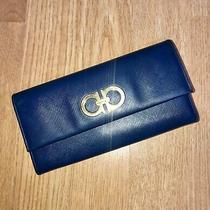 Salvatore Ferragamo Blue Cross Grain Leather Long Wallet Photo