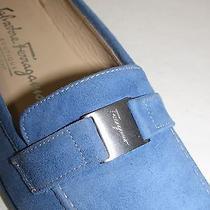 Salvatore Ferragamo Blue Suede Signature Flats Loafers Sz 6 B Photo