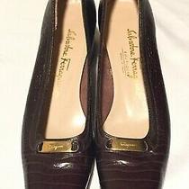 Salvatore Ferragamo Boutique Croc Brown Pumps Women Shoes Sz 8 A4 Made in Italy Photo