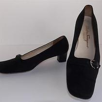 Salvatore Ferragamo Boutique Shoes Sz 6 Black Canvas Microfiber Pumps Photo