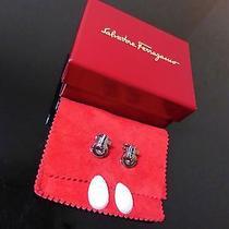 Salvatore Ferragamo Boxed Silver Earrings Ganchini Clip Excellent Condition Photo