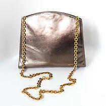 Salvatore Ferragamo Bronze Metalic Leather Gold Chain Handbag Purse Shoulder Bag Photo