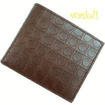 Salvatore Ferragamo Chocolate Gamma Gancini Logo Embossed Wallet Nib Authentic Photo