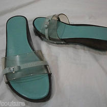 Salvatore Ferragamo Clear Jelly Sandal Slides in Aqua Size 8 Fabulous Photo