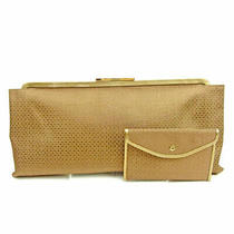 Salvatore Ferragamo Clutch Bag Back Party Gancini Gold Brown Canvas  18582 Photo