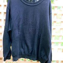 Salvatore Ferragamo  Crew Sweater M Navy Blue Dolphin Cotton Made in Italy Mens Photo