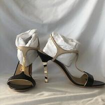 Salvatore Ferragamo Embossed T-Strap Sandals With Resin Accented Heels Size 8 B Photo