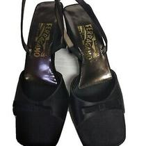 Salvatore Ferragamo  Florence Black Slingback  Open Toes Heel 8 B Made in Italy Photo