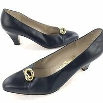 Salvatore Ferragamo Florence Blue Leather Pumps Heels Shoes Womens 8 Aa Italy Photo