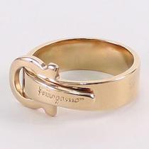Salvatore Ferragamo Gancini Scarf Ring Accessory Gold Brass Metal Belt Motif Photo