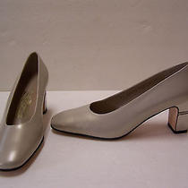 Salvatore Ferragamo Gold Leather Chrome Heels Pumps Mismatch Size R 5.5b L 6b   Photo