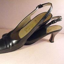 Salvatore Ferragamo Gun Metal Gray Calfskin Slingbacks W/silver Heels  7.5aa Photo
