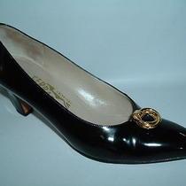 Salvatore Ferragamo Italy Black Patent Leather Pumps 8 Aa Gold Signature Rings Photo