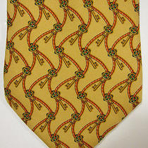 Salvatore Ferragamo Keys Cords and Clover Yellow Silk Tie Made in Italy Photo