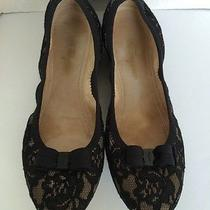 Salvatore Ferragamo Lace Covered Ballet Flats Size 8m Rubber Sole Made in Italy Photo