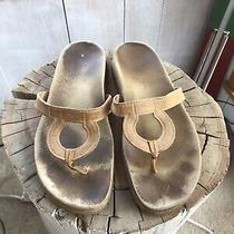 Salvatore Ferragamo Leather Thong Logo Sandals Sz 38 8 Tan Summer Suede Resort Photo