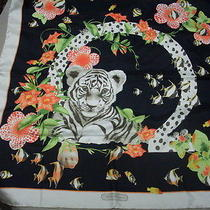 Salvatore Ferragamo  Leopard Tiger Printed Silk Scarf Wrap  Photo