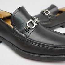 Salvatore Ferragamo Master Black Leather Gancini Loafers Size 9 Ee 2e Shoe 520 Photo