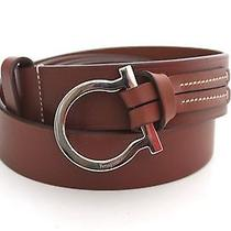 Salvatore Ferragamo Men's Slide Thru Belt Chrome Brown Size 44 Photo