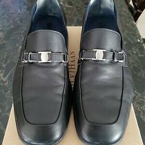 Salvatore Ferragamo Mens Black Leather Horsebit Loafers Dress Shoes 10 Euc Blue  Photo