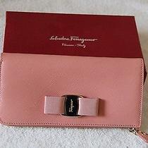 Salvatore Ferragamo Miss Vara Bow Zip Around Continental Wallet Blush Nwt Photo