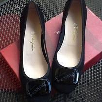 Salvatore Ferragamo My Joy My Charme4 Nero Suede Calf 9 1/2 B Black Heels Photo