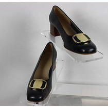 Salvatore Ferragamo Navy Blue Solid Wood Stacked Heel Leather Pump Size 7aa Photo